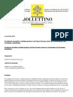 Constitución Apostólica «Veritatis gaudium» del Papa Francisco sobre las Universidades y las Facultades eclesiásticas