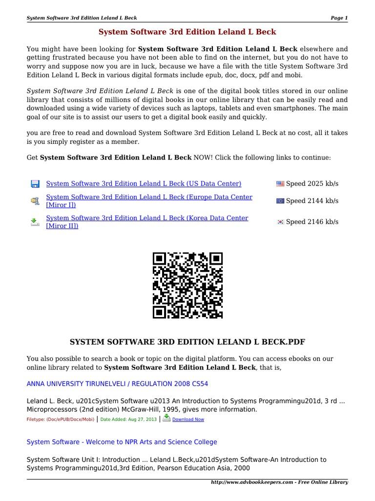Kupdf Com System Software 3rd Edition Leland L Beck