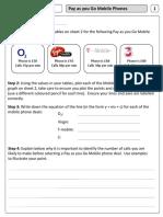 Linear Graphs - Mobile Phone Task Worksheets 1 & 3