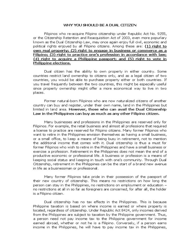 Dual Citizenship Advantages | Citizenship | Philippines