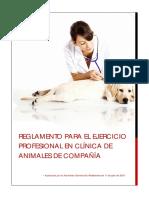 Reglamento Para El Ejercicio Profesional en Clínica de Animales de Compañía (Aprobado Agptes. 11-07-15)