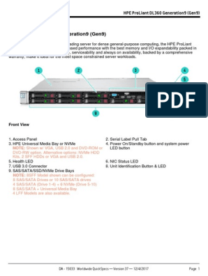 HPE ProLiant DL360 Generation9 (Gen9)   Solid State Drive