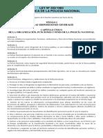 Ley Nº 222-1993 - Orgánica de La Policía Nacional