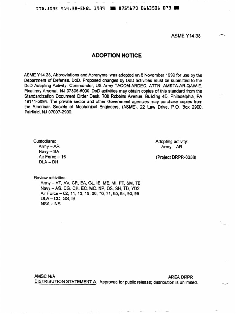 ASME-Y14-38-99 ABBREVIATIONS AND ACRONYMS | Bracket | Patent