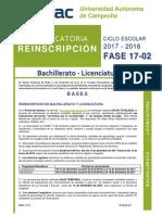 Convocatoria Reinscripción Fase 17-02