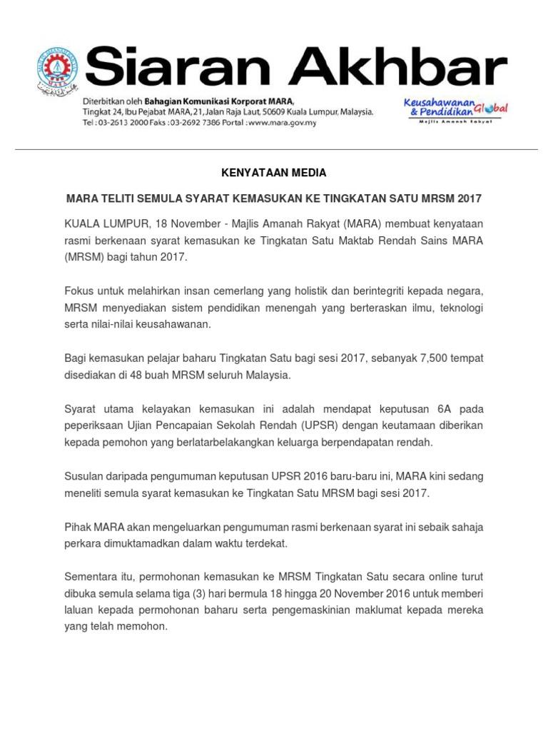 Permohonan Kemasukan Ke Maktab Rendah Sains Mara Mrsm Arau Ewarta Mara