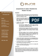 Acquisition of Cobalt Prospective Project in Chile