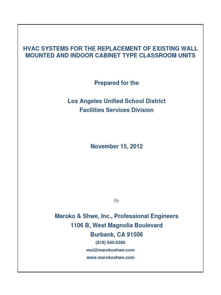 HVAC Units for the Replacement of Wall Hung Units 11-15-2012