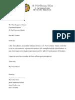 Letter for Registrar
