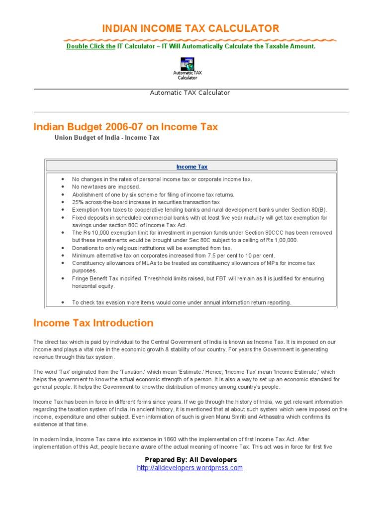 tax calculator income tax in india income tax