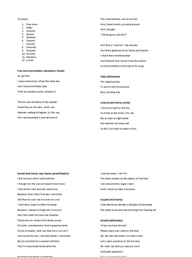 English 11 Poem Draft Poetic Devices Poetic Form