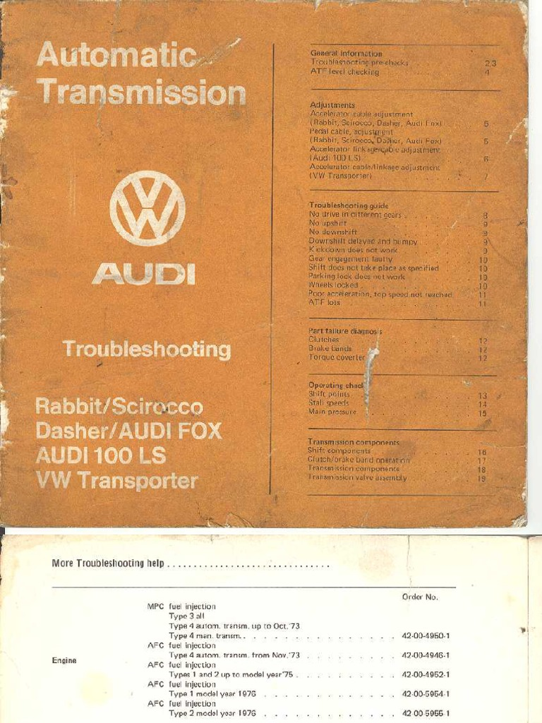 1975 VW Transmission Troubleshooting Guide
