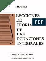 Lecciones de Teoría de Las Ecuaciones Integrales I. Petrovski