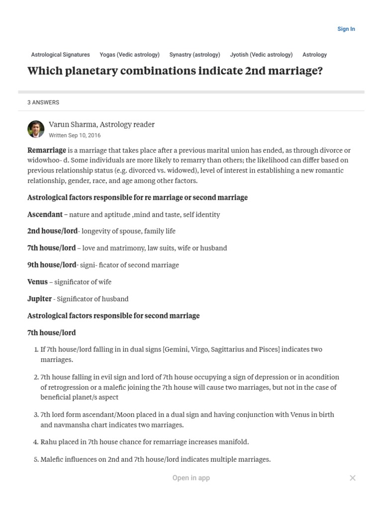 2nd marriage in astrology | Planets In Astrology | Hindu Astrology
