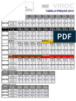 Tabela Preços - Viroc 2012