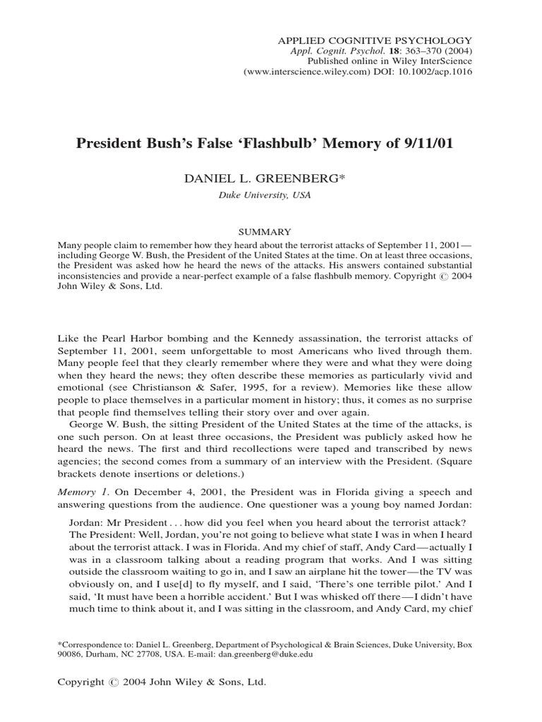 Flashbulbpdf Recall Memory Memory