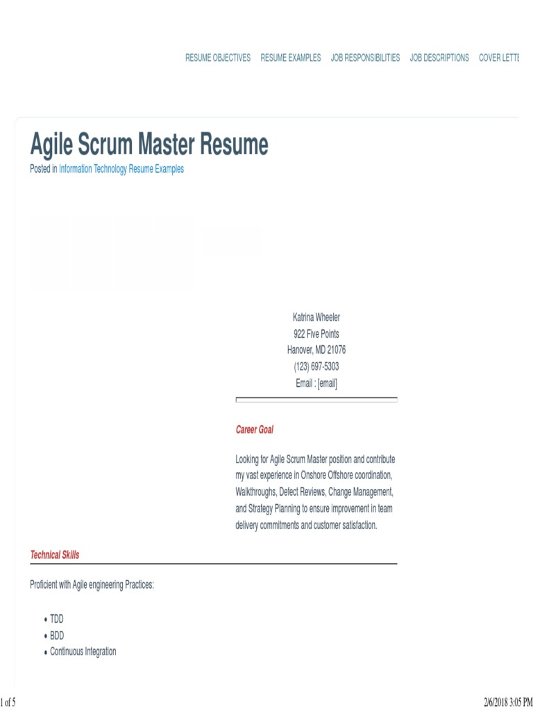 sample agile scrum master resume with appropriate skills