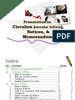 Circulars (Circular Letters)Notices,Memo