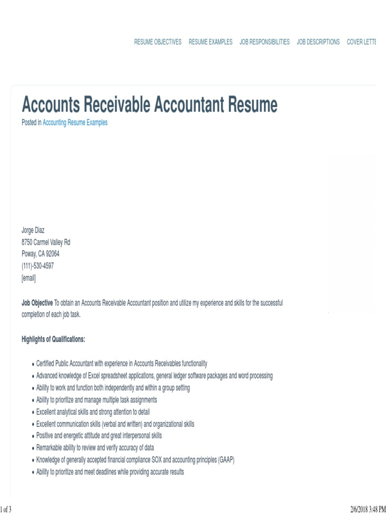 Accounts Receivable Accountant Resume Sample Best Format