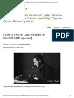 Brecht - La Belleza de Las Poeasías de Baudelaire (Apuntes)