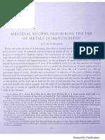 ALEXANDER Medieval Recipes Describing the Use of Metals in Manuscripts