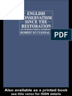 English Conservatism Since the Restoration an Introduction and Anthology