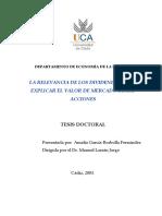 Tesis Doctoral La Relevancia de Los Dividendos Para Explicar El Valor de Mercado de Las Acciones