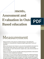 Measurements Assessment and Evaluation in Outcome Based Education