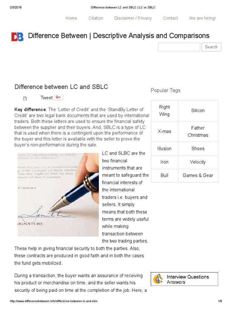 Difference Between LC and SBLC _ LC vs SBLC | Letter Of Credit