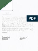 Carta al Ministerio del Interior