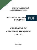 Plan Cercetare 2010