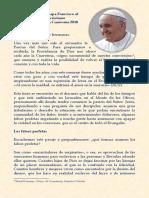 Mensaje del Papa Francisco en ocasión de la Cuaresma 2018.