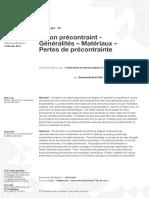 Béton Précontraint- Généralités – Matériaux – Pertes de Précontrainte