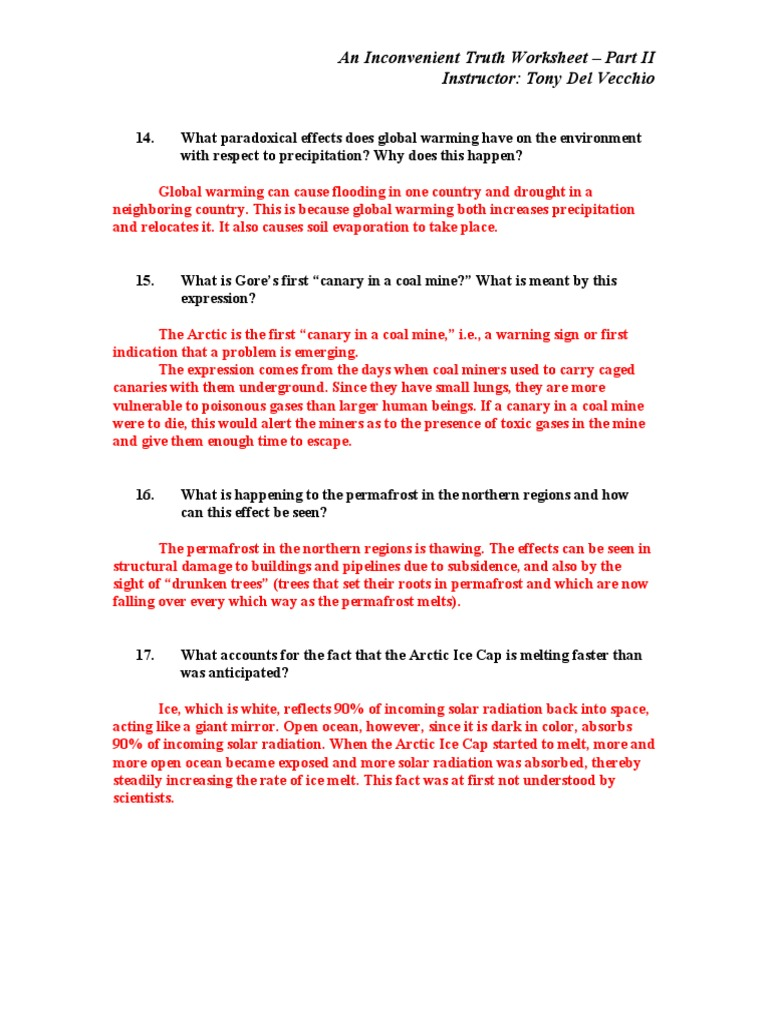worksheet Inconvenient Truth Worksheet ait worksheet answers part ii global warming ice