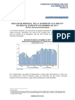 Indicador Mensual de la Inversión Fija Bruta en México durante Noviembre de 2017 (Cifras desestacionalizadas)