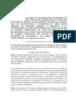 Proyecto de Reglamento Interno de Trabajo de Las Cooperativas de Taxis Enero 2016