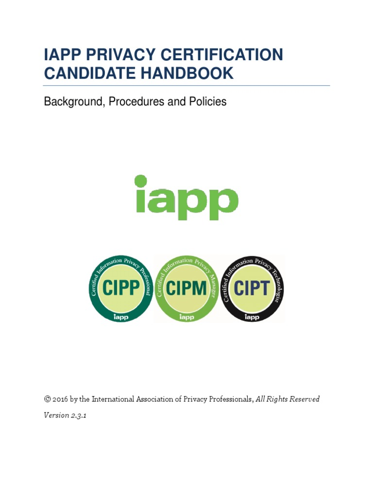 Iapp Privacy Certification Candidate Handbook V231 Privacy