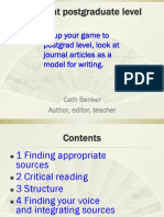 Writing at Postgraduate Level - Critical Reading and Writing