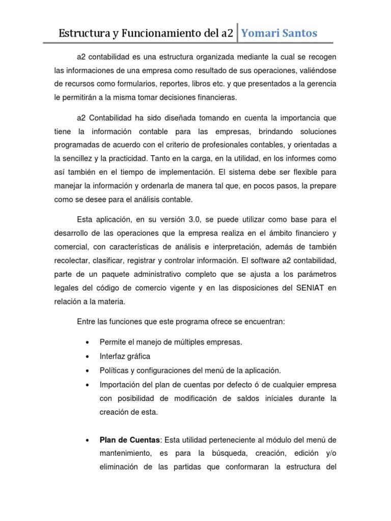 Informe En Linea Iv Estructura Del A2 Contabilidad
