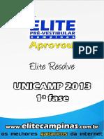 Elite Resolve Unicamp 2013 1a Fase