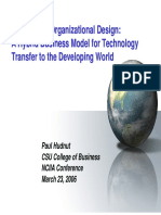 Business Models for Technology Transfer in Developing World