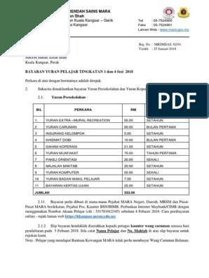 Bayaran Yuran Pelajar Baru T1 Dan 4 2018 1 Pdf