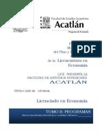 Propuesta Del Plan de Estudios de La Licenciatura en Economia (1)