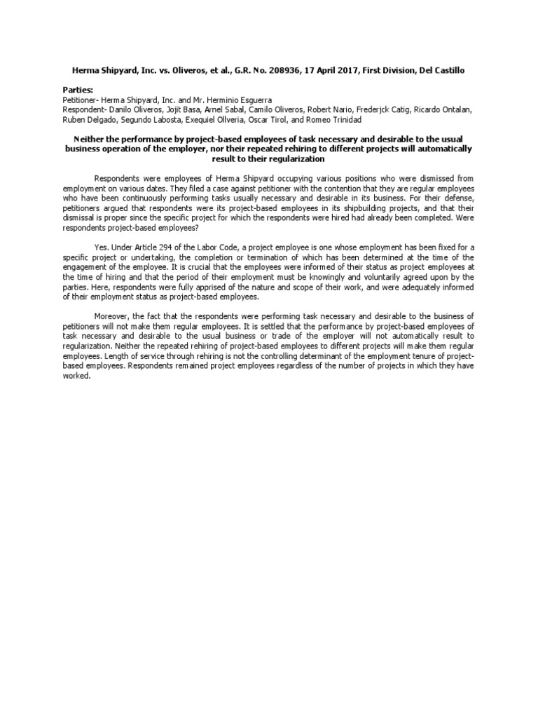 HermaShipyard vs Oliveros   Labor   Employment