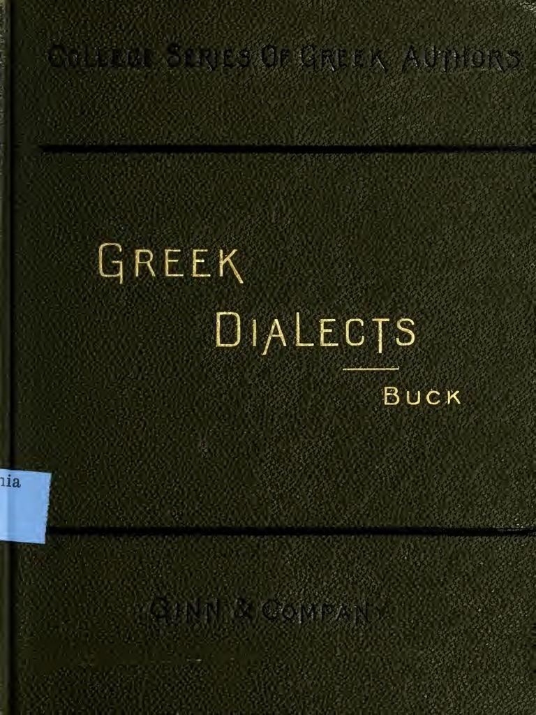 Greek dialects - Buck pdf | Verb | Pronoun