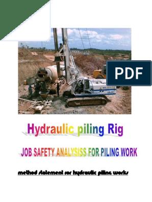 MS & JSA Piling Work pdf | Deep Foundation | Drilling Rig
