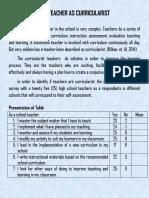 Activity 7. the Teacher as Curricularist