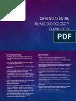 Diferencias, Homicidio y Feminicidio