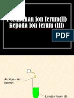 Change of Iron(II) Ions to Iron(III)