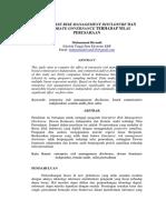 Enterprise Risk Management Disclosure Dan Corporate Governance Terhadap Nilai Perusahaan